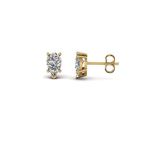 Pendientes de tuerca solitario con forma de pera de 3 mm a 7 mm con diamante transparente D/VVS1 en plata de ley 925 chapada en oro amarillo de 14 quilates