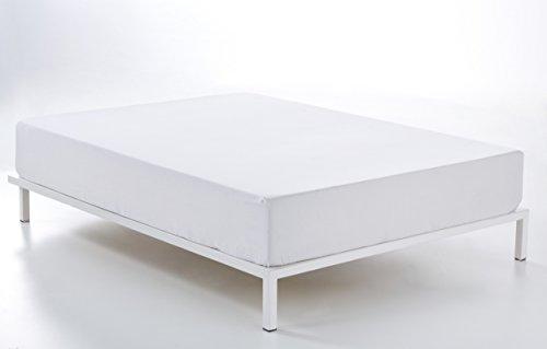 ESTELA - Sábana Bajera Ajustable Combi Color Blanco - Alto Especial (35 cm) - Cama de 150 cm. - 50% Algodón / 50% Poliéster - 144 Hilos