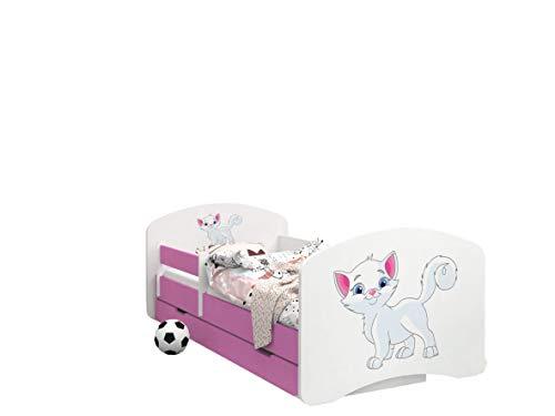 Happy Babies -LIT D'ENFANT ROSE DOUBLE FACE AVEC TIROIR Design Moderne Avec Bords Sécurisés et Matelas en Mousse Antichute 7 cm (12. Chatons, 140x70)