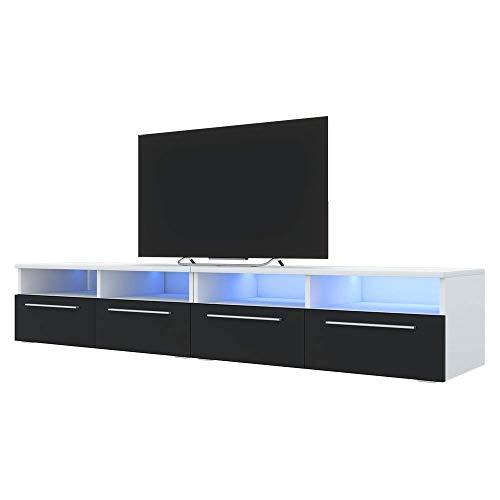 Siena Double - Meuble TV/Banc TV (200 cm, Blanc Mat/Noir Brillant avec LED)