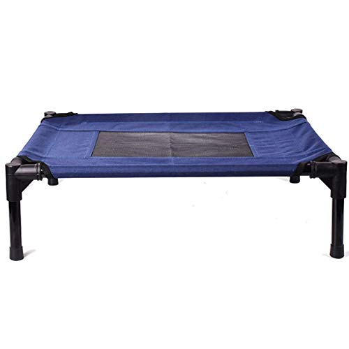 Elevated Pet Bed - Best Dog Cot Outdoor Indoor Camping Raised Cot, Blue, Size Optional (Size : S 60×45.5×16cm)