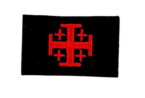 Akachafactory Gestickte Applikation, für Rucksack, Flagge Jerusalemkreuz, Tempelritter, Kreuzzug, Schwarz