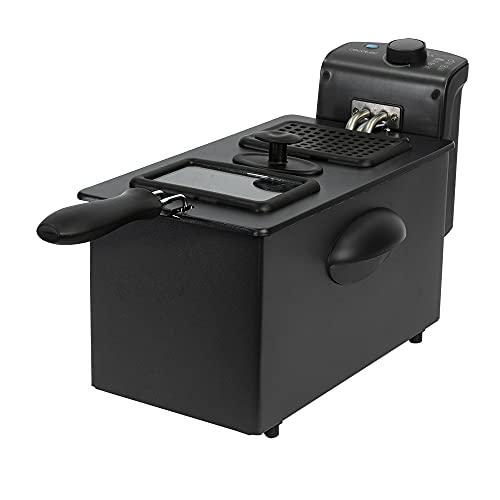 Cecotec Freidora Eléctrica CleanFry 3000 Black. 2180 W, 3 Litros, Acero inoxidable, Filtro OilClean que mantiene el aceite limpio, Tapa con ventana de visión, Filtro antiolores, Lacada en negro