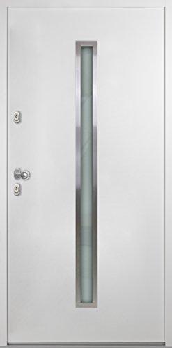 Nebeneingangstür Aluminium Stahl mit Glas 1000 mm (B) x 2000 mm (H) BEW NET 501 AT weiß nach Innen öffnend DIN rechts Innen Drücker / Außen Knauf gekröpft