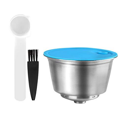 Haudang Wiederverwendbare Kapsel für Dolce-Gusto, Rostfreier Stahl Kaffee Filter für Nescafe/Dolce-Gusto Set (mit L?Ffel und Pinsel)