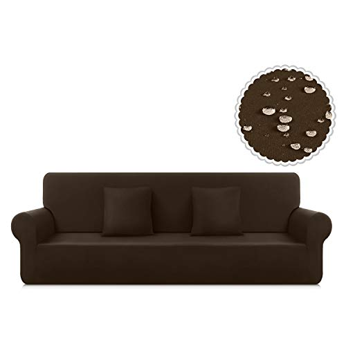 TAOCOCO Couch Cover Stretch Water Resistance One-Piece Sofa Slipcover, Furniture Protector Sofa Cover for 3 Seaters with 2pcs Pillowcases, Polyester-Spandex Fabric Sofa Cover (Large, Seal Brown)