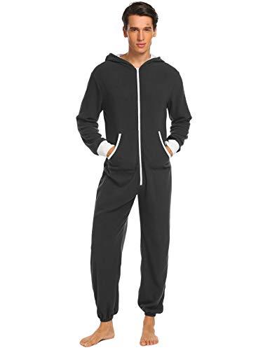 ADOMES Jumpsuit Herren Schlafanzug Jogger Jogging Anzug Trainingsanzug Overall Einteiler Schlafoverall Langarm Pyjama mit Kapuze Schwarz Grau - 2