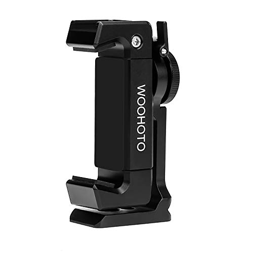 Metal Phone Tripod Mount with Cold Shoe,Woohoto 360 Rotation,Compatible with iPhone 11 12 Pro Max Tripod Mount,Sumsung Smartphone Mount Holder Adapter,Cell Phone Clamp,Video Rig Mount Live Streaming