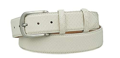 ESPERANTO Cintura Unisex 4 cm in Vera Pelle di Pitone Bianca con fodera Nabuk e fibbia Nichel free (Tg 44- LUNG TOTALE 100 CM-GIROVITA 85 CM)