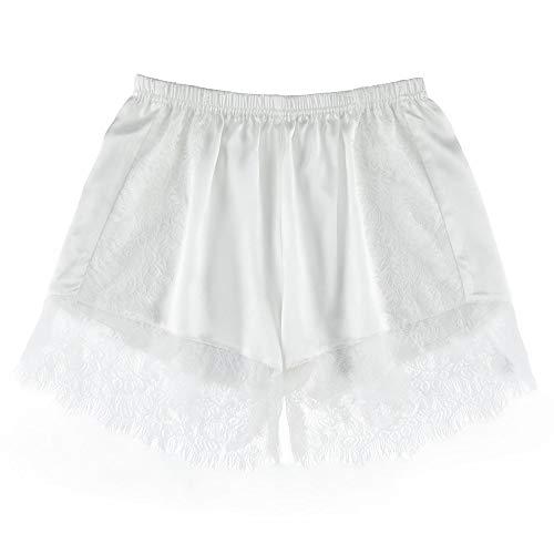 LilySilk Seide Unterhose Sicherheit Unterwäsche mit Spitze Boxershort Lang Schlüpfer Panties Hipsters aus Seide von 19 Momme M Weiß