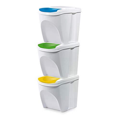 Prosperplast Juego de 3 Cubos de Basura, Blanco, pequeño