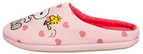 Brandsseller Zapatillas de estar por casa para mujer, diseño con motivos de Snoopy, color Rosa, talla 36/37 EU