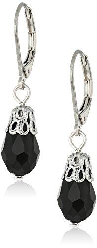 1928 Jewelry Silver-Tone Black Drop Earrings