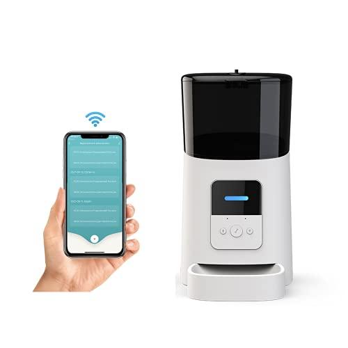 Momo's Choice Distributore automatico Wi-Fi di cibo per cani e gatti, Programmazione orari e dosi dei pasti. Controllo remoto da APP, Avviso voce registrata all'uscita dei croccantini (Bianco)