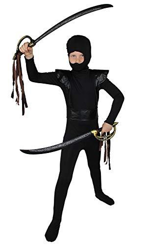 Foxxeo schwarz rotes Ninja Kostüm für Jungen schwarzes Ninjakostüm Kinderkostüm Größe 110-116