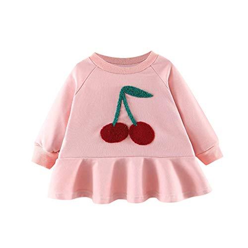 Robe Bebe Fille Ceremonie Hiver 1 à 4 Ans Cerise Imprimé Sweat Shirt Printemps Robe Princesse Fille Robes de Soiree Filles Vetement Bébé Enfant Fete Anniversaire Bapteme Carnaval (Rose, 18-24 Mois)
