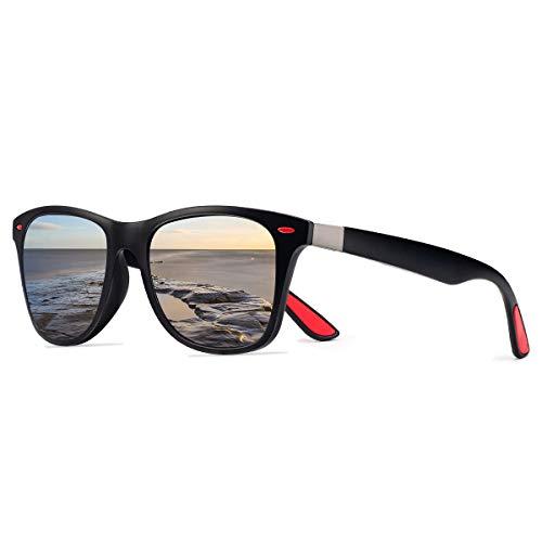 CHEREEKI Gafas de Sol Polarizadas,  Gafas de Sol de Moda Hombre Mujer 100% Protección UV400 Gafas para Conducción (Negro- plata)