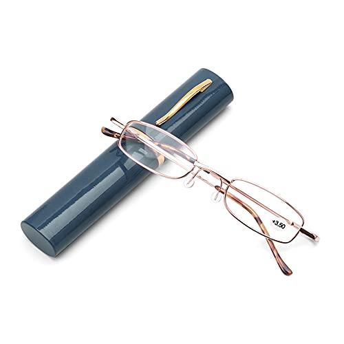 CHENPENG Gafas De Lectura con Bloqueo De Luz Azul, Lector De Fatiga Ocular Antideslumbrante De Computadora, Filtro De Rayos UV/Deslumbramiento con Bisagras De Resorte,Azul,1.5X