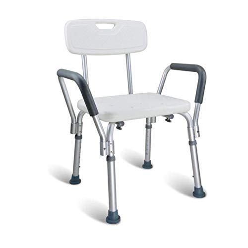 LCA Taburete Ducha Baño Silla De Ducha para Ancianos Taburete De Baño Ajustable En Altura con Brazos Y Respaldo Taburetes De Seguridad para El Baño Ayuda para La Movilidad para Discapacitados