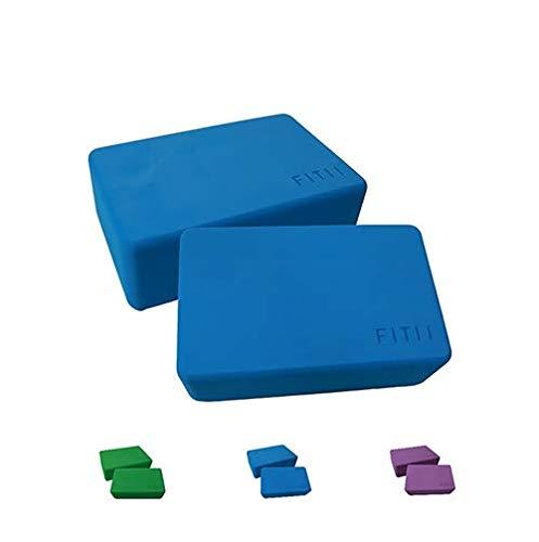 Juego de 2 bloques de yoga de FITII – 2 bloques de espuma EVA, bloque de yoga, bloque de yoga estable y antideslizante para meditación, pilates, yoga, fitness, 2 bloques de yoga (azul)