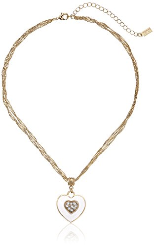 1928 Jewelry Enamel Heart and Swarovski Crystal Pendant Necklace