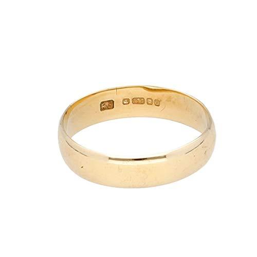 Jollys Jewellers Alianza de boda de oro amarillo de 9 quilates (talla M) de 4 mm de ancho