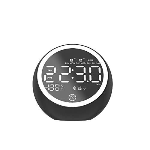 ist Präfekt für Streaming / Podcasting / Gaming Wireless Bluetooth 5.0 Music Lautsprecher LED Dual-Wecker anzeigen FM Radio-Stereo-Lautsprecher mit EU Energieversorgung ( Color : Black )