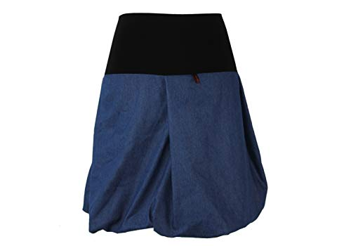 dunkle design Damen Ballonrock Jeansrock Jeans Farbe Midi oder Knielang nach Wahl (Mittelblau, XXXL 48)