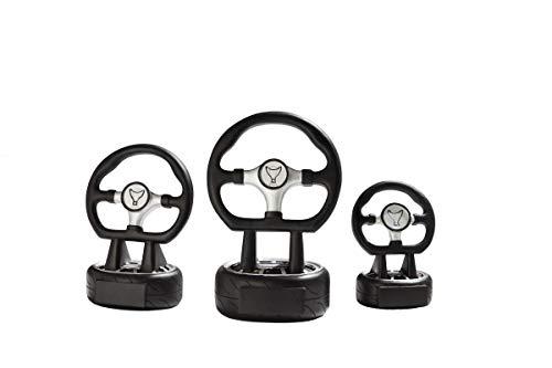Henecka Motorsport-Pokal, Resinfigur Motorsport Lenkrad, schwarz Silber, mit Wunschgravur und auswählbarem Sport-Emblem, Größe 16 cm