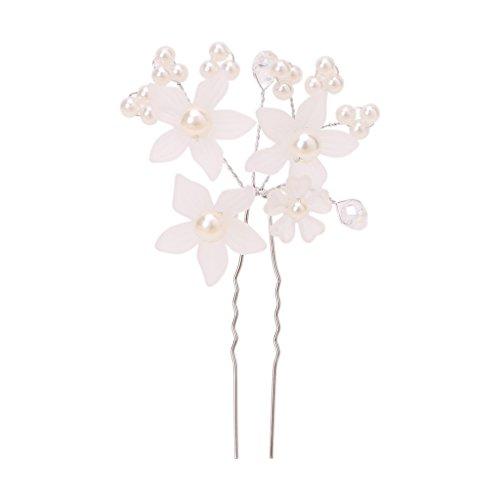 niumanery Wedding Bride Rhinestone Flower Pearl Hair Pins Clip Head Hairpin Accessories White