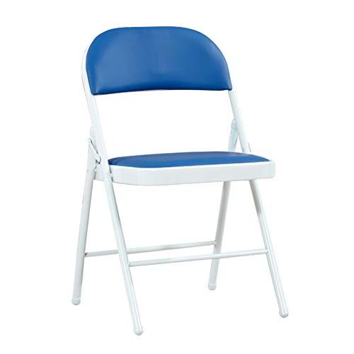 Sillas Plegables Silla Plegable Cuero PU Silla de Visita Plegable Azul para el Escritorio de La Computadora de La Oficina del Jardín Casero Carga Máxima 150 kg Folding Chairs (Size : 2pack)
