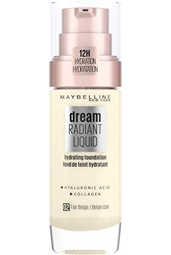 Maybelline Foundation Fond de Teint Hydratant Liquide Dream Radiant avec Acide Hyaluronique et Collagène - Couverture Légère et Moyenne jusqu'à 12 Heures d'hydratation, 02 Fair Beige
