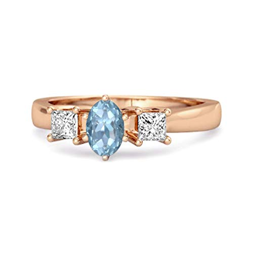 Shine Jewel Elección múltiple de su Piedra Preciosa 0.50 Ctw Anillo de confesión de Tres Piedras Chapado en Oro Rosa de Plata esterlina 925 (12, topacio Azul Suizo)