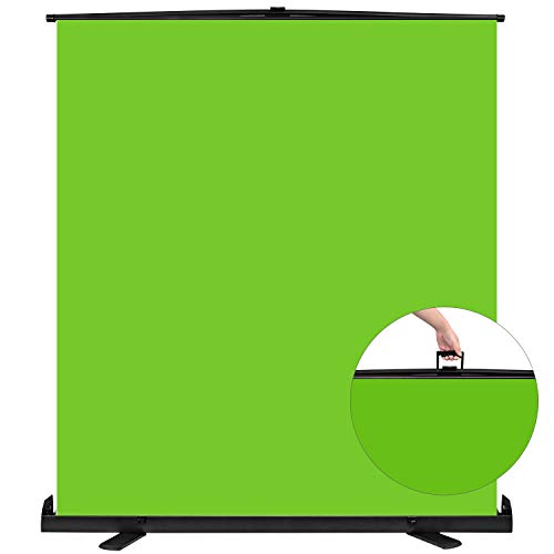 Yesker Green Screen Wrinkle-Resistant Portable Collapsible Chromakey Background 148x190cm Green Backdrop Quick Set up Auto Locking Frame Aluminium Base for Photo Video Live Game Tiktok Photography