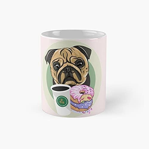 Pug Dog Lover Coffee Classic Mug - 11 Ounce For Coffee, Tea, Chocolate Or Latte.