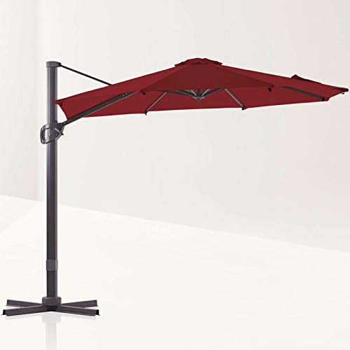 LE CONTE Grenoble 10 ft. Cantilever Umbrella with 360 Degree Rotation   Outdoor Aluminum Offset Patio Umbrella Market Hanging Umbrellas   Solution Dyed Fabric, Tilting and Cross Base (Burgundy)
