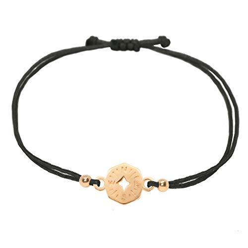 Selfmade Jewelry Pulsera con brújula, oro rosa sobre cinta negra, tamaño ajustable, hecha a mano, incluye estuche de regalo