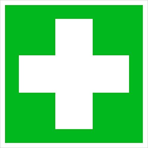 Erste Hilfe Schild, Rettungskennzeichnung sehr stabil/selbstklebend, einfach andrücken - fertig, kein Bohren nötig