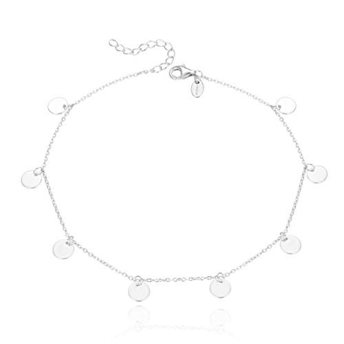 Adabele 925 Sterling Silver Adjustable Anklet Bracelet 6mm Coin Disk Charm Pendant 9' 10' 11 Inch Chain for Women Gift - Made in Italy Nickel Free