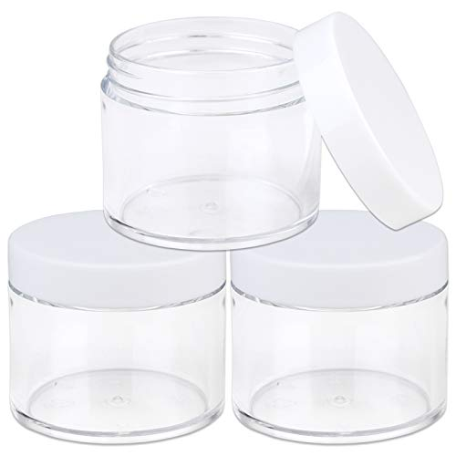 Beauticom 60 Grams/60 ML (2 Oz) Round Clear Leak Proof Plastic Container Jars with White Lids for Travel Storage Makeup Cosmetic Lotion Scrubs Creams Oils Salves Ointments (3 Jars)