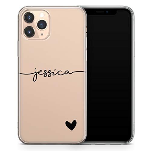 TULLUN Personalisierte Handyhülle für iPhone XS Max - Klare Soft Gel Benutzerdefinierte Farbe Name & Herz Unten Name Buchstabe Initialen Name Text - Schwarzer Name & Herz