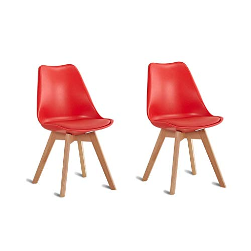 HYRGLIZI PU Leather Dining Chairs Set of 2 Soft Padded Cushion Seat and Back with Wooden Style Sturdy Legs Kitchen Chairs for Dining Room (Color : Red)