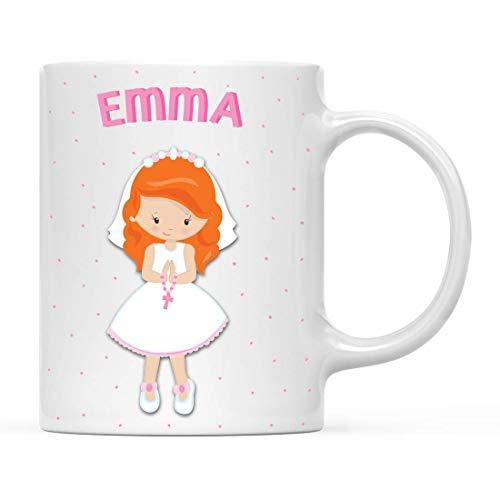 Taza personalizada de chocolate caliente con leche para niños, bautizo, bautizo, comunión, niña pelirroja de pie con rosario rosa, paquete de 1, taza de café de Navidad personalizada para cumpleaños d