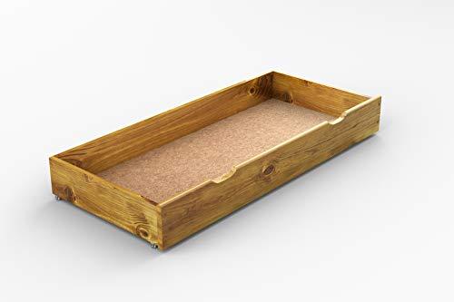 Solid wooden pine underbed stprage drawer 150 cm in oak finish