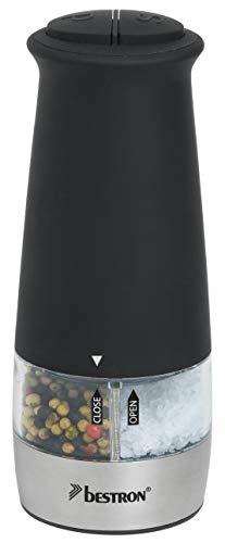 Bestron Dispensador Eléctrico de Sal y Pimienta 2 en 1, con Molinillo de Cerámica, Acero Inoxidable, Negro
