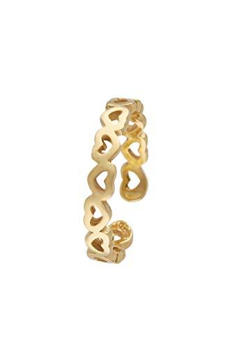 Córdoba Jewels | Anillo en Plata de Ley 925 bañada en Oro con diseño Corazones Gold