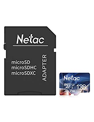 Netac 128GB Micro SD Memory Card with Adapter, MicroSDHC Card UHS-I, 100/30MB/s(R/W), 667X, C10, U3, A1, V30, 4K, TF Card for Camera, Smartphone, Security System, Drone, Dash Cam, Gopro, Tablet, DSLRs