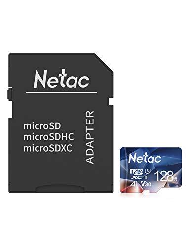 Netac 128G Scheda Micro SD con Adattatore SD, Scheda di Memoria A1, U3, C10, V30, 4K, 667X, UHS-I velocità Fino a 100/30 MB/Sec(R/W) Micro SD Card per