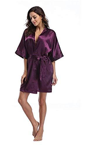 HAIBI Mujer Albornoz Bata Bata De Satén Bata De Kimono Ropa De Dormir De Encaje Corto Bata De Noche Sexy para Mujer, Color 1, XXL
