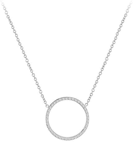 555Jewelry Stainless Steel Sparkly Czech Cubic Zirconia Open Round Pendant Necklace Designer product image